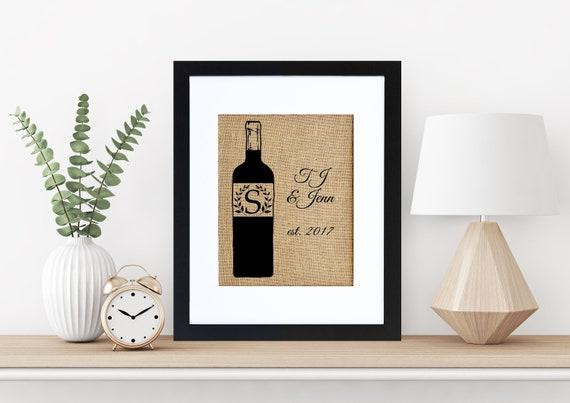 Wine Monogram Framed or Unframed Burlap Art Wall Art | Etsy