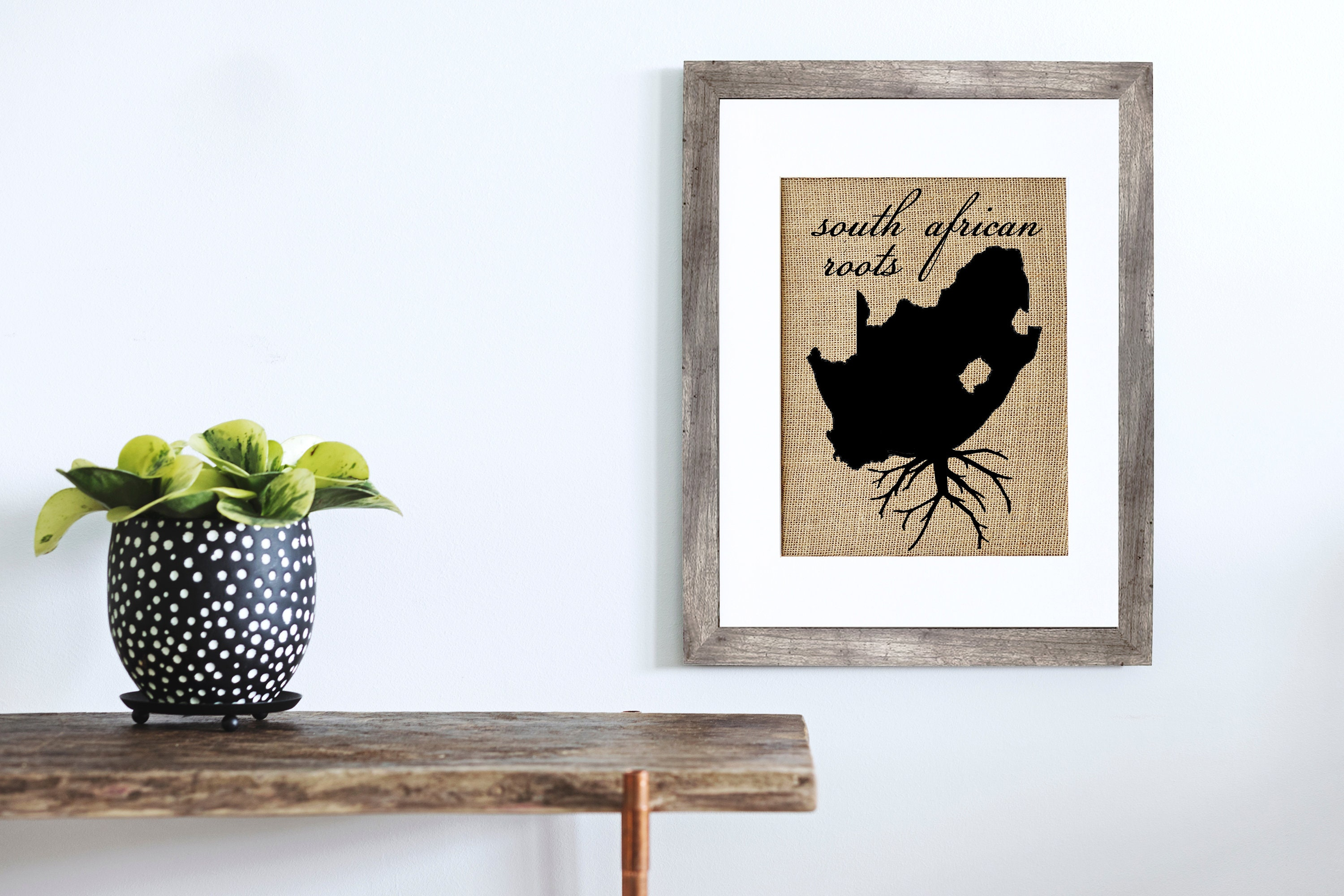 South African Roots Framed Or Unframed Burlap Art Wall Art Maps