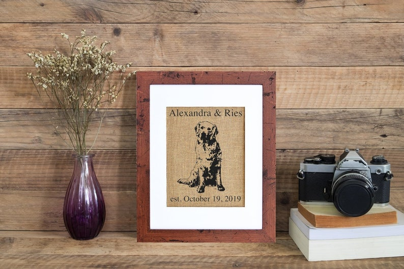 Golden Retriever Monogram  Framed or Unframed  Burlap Art  image 0