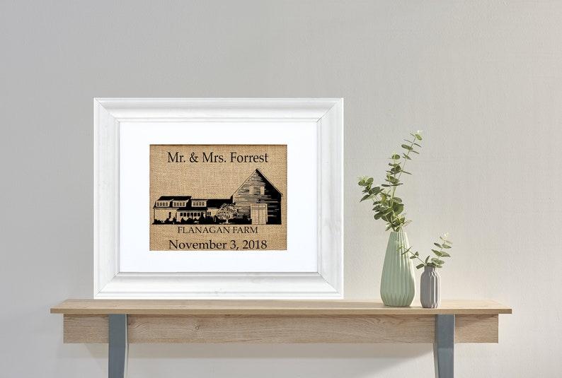Custom Barn Monogram Wedding Framed or Unframed  Burlap Art image 0