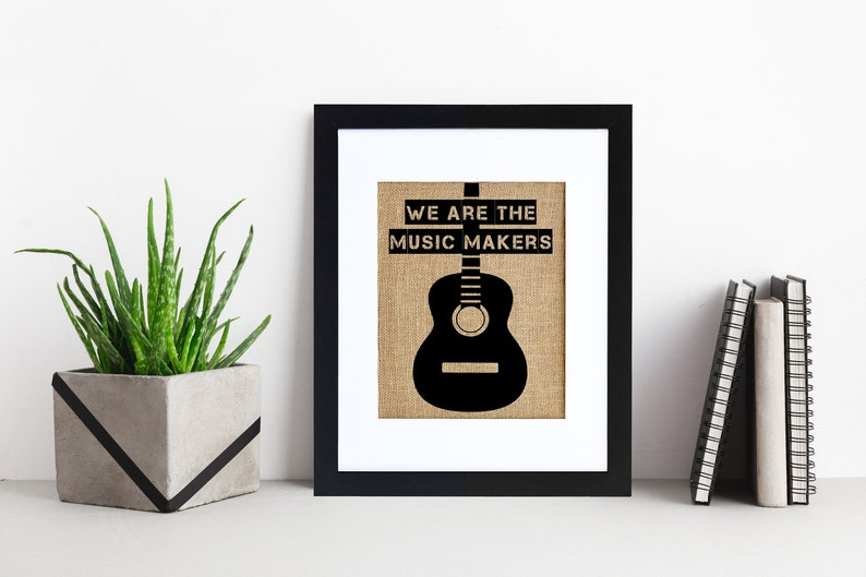 Guitar Music Makers  Framed or Unframed  Burlap Art  Wall image 0