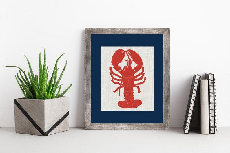 Red Lobster White Burlap Framed or Unframed  Burlap Art  image 0