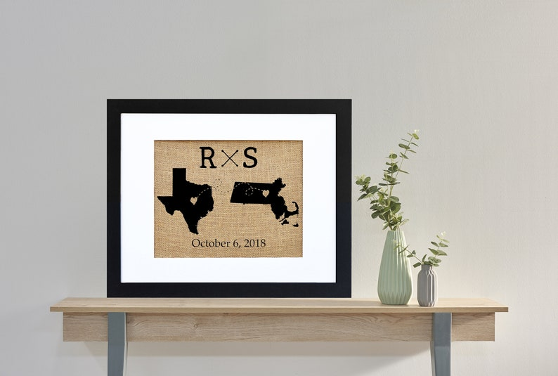 Two State Monogram Wedding Framed or Unframed  Burlap Art  image 0