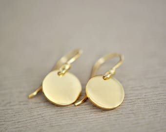 Small Gold Earrings - Gold Circle Earrings - Modern Earrings - Simple Earrings - Everyday wear earrings - Mothers Day Gift