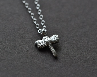 Dragonfly Necklace  - Dragonfly Pendant - Sterling Silver Dragonfly Jewelry