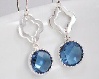 Mehndi Flower Montana Blue Dangle Earrings, Blue Drop Earrings, Blue jewellery, Gift For Her