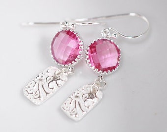 Textured Drop Earrings, cranberry pink dangle earrings, recycled silver jewellery, Gift For Her