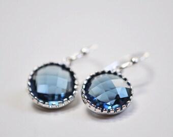 Blue Drop Earrings, Small Dangle Earrings, Montana Blue jewellery, Minimal Silver Jewelry - Gift For Her