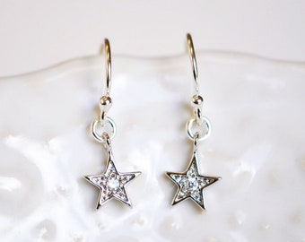 Tiny Cubic Zirconia Star Dangle Earrings - Minimal Jewelry - Star Earrings - Gifts For Her