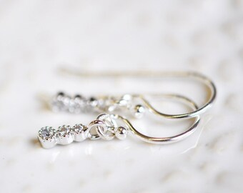 Tiny Cubic Zirconia Dangle Earrings,  Minimal Jewelry,  Gift For Her
