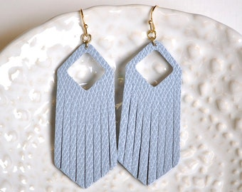 Blue Faux Leather Long Dangle Earrings - Gifts For Her