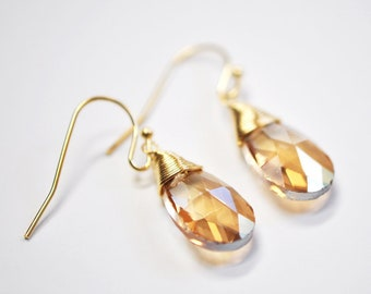 Faceted wire wrapped gold earrings, Shimmery and dainty, drop earrings, gift for her