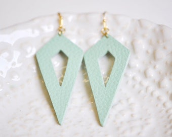 Mint Green Faux Leather Long Dangle Earrings - Gift For Her