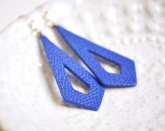 Blue Faux Leather Long Dangle Earrings - Gift For Her