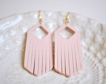 Pink Faux Leather Long Dangle Earrings - Gifts for her