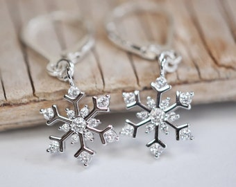 Snowflake earrings, lever clasp dangle snowflake earrings, winter jewelry, Christmas gif for her