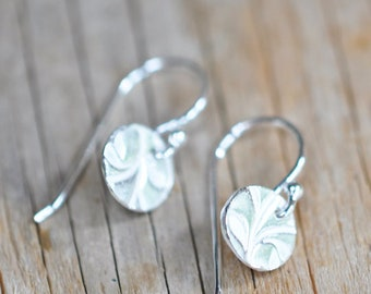 Tiny Dainty Earrings Sterling Silver Circle Silver Dangle Earrings, Botanical Hand Stamped Jewelry for Women, Handmade Birthday Gift for Her