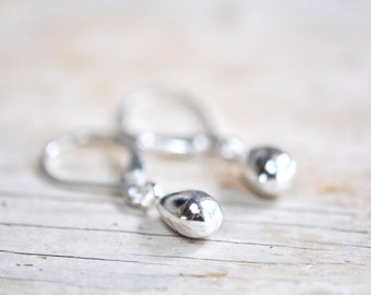 Silver Tear Drop Earrings, Small Lever Clasp Dangle Earrings, Minimal Silver Jewelry, Gift For Her