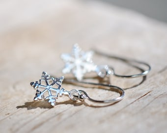 Tiny Snowflake Sterling Silver Earrings, Small Earrings, Handmade Christmas Gift for Her, Winter Jewelry