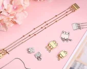 Clasp Magnetic Multi Necklaces Connector Layered Strands Tube Lock Slide Clasp   Gold and Sliver 8 Pc - 2 Sizes Layering magnetic  Clasp