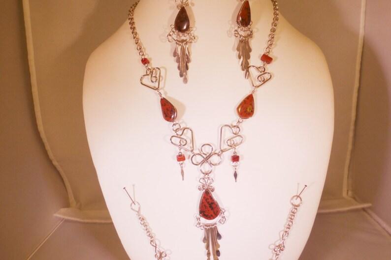 necklace bracelet and earring set tiger eye  Jasper image 0