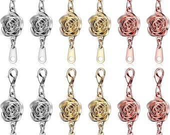 12 Pieces Locking Magnetic Clasps Rose Jewelry Magnetic Clasp Necklace Lobster Clasp Closures Magnetic Clasp  Chain Extenders for  Necklace