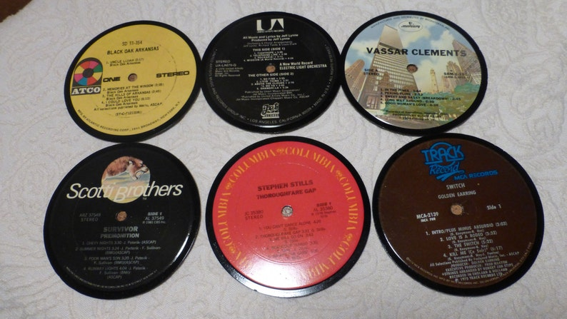 Vinyl Record Album LP Coasters set of 6 mixed artists A9 image 0