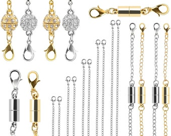 22Pcs Magnetic Jewelry Clasps and Necklace Extenders Gold Silver, Multiple Sizes and Styles Chain Extenders Magnetic Clasps