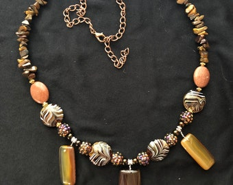 necklace hand made brown, gold , amber,copper, tiger eye