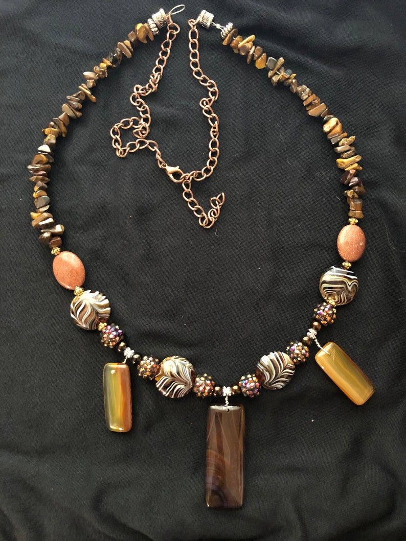 necklace hand made brown gold  ambercopper tiger eye image 0