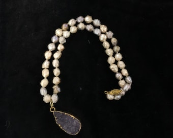 necklace fresh water pearl and amethyst