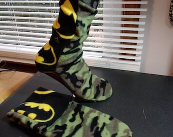 "Fleece socks size S ready to ship mix match colors 9.5"" batman camo"