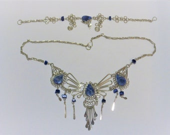 """Necklace sets with 2"""" extender 10 to choose from, semi-precious  stones and glass"""