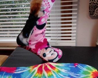 "Fleece socks size XS ready to ship mix match colors, 8 3/4"" Tie dye minnie mouse"