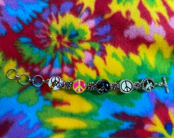 Peace bracelet hippie boho ginger snap bracelet new