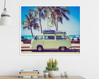 Beach Print, Coastal Sea Tropical Art, VW Van Bus, Pastel Color Print,  Palms Trees, Modern Home Room Wall Office Art Decor, Digital Download