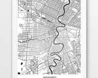 Winnipeg Map Winnipeg Print Winnipeg Poster Winnipeg Art Winnipeg Map Print Winnipeg Street Map Winnipeg Wall Art Winnipeg Canada