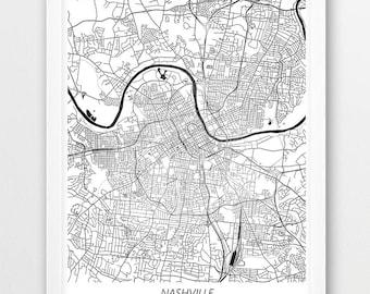 photo relating to Printable Map of Nashville identify Nashville map print Etsy