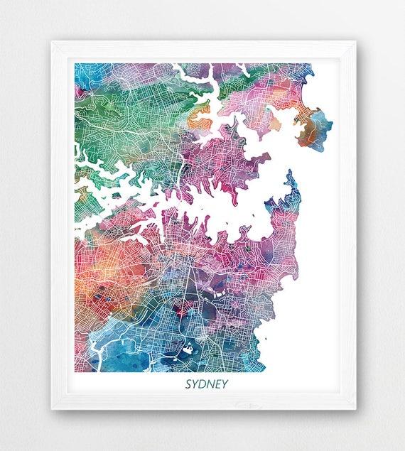 Sydney Map Print Sydney Australia Poster Print Sydney Urban | Etsy