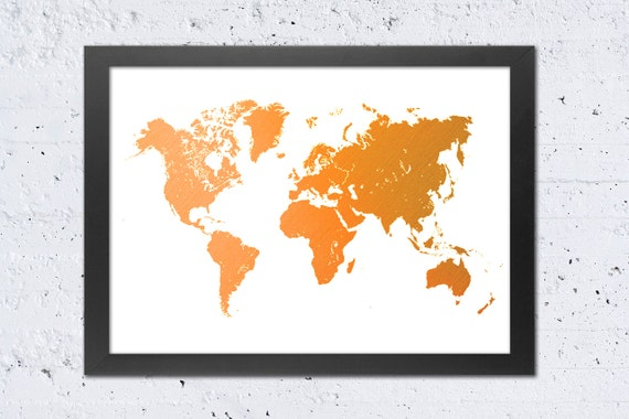 World Map Print, World Map Silhouette Rustic Orange Color Textured  Printable File, Modern Wall Art Home Office Decor, Travel Gift DIY Print