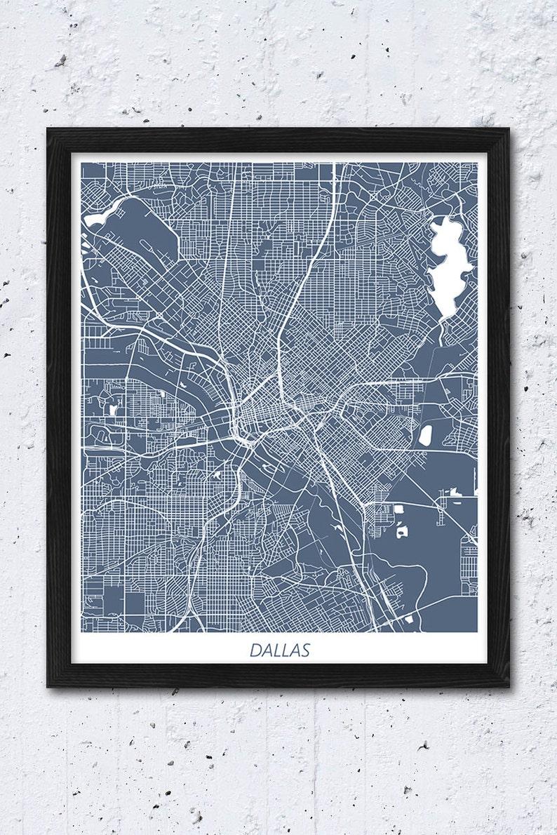 Dallas Map Print Dallas Map Poster Print Dallas Texas Urban   Etsy on