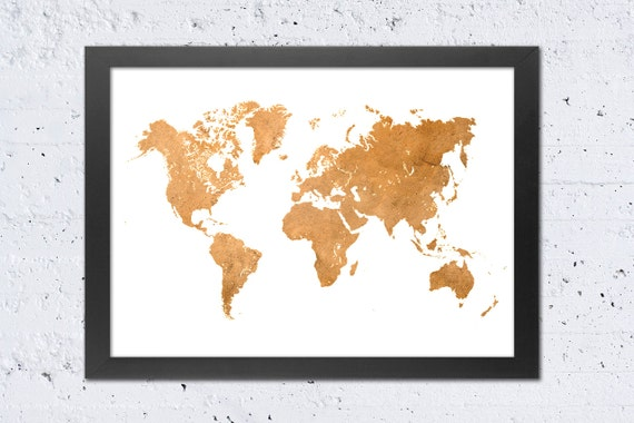 World Map Print, World Map Silhouette Rustic Copper Sepia Earth Colors  Printable File, DIY Modern Wall Art Home Office Decor, Travel Gift