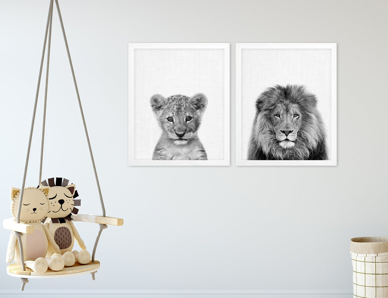 Lions Set Print Lions Family Print Lion Cub Safari Animals | Etsy