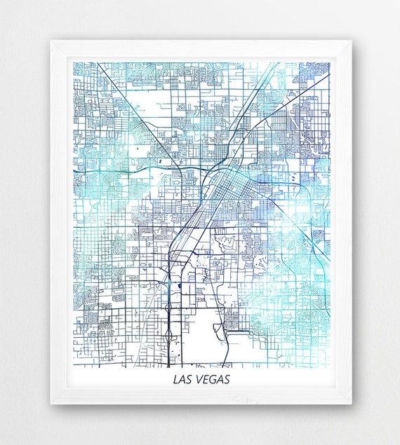 Las Vegas Map Print, Las Vegas City Poster Print, Las Vegas Nevada Urban  Street Map, Blue Watercolor Print, Home Office Printable Art Decor