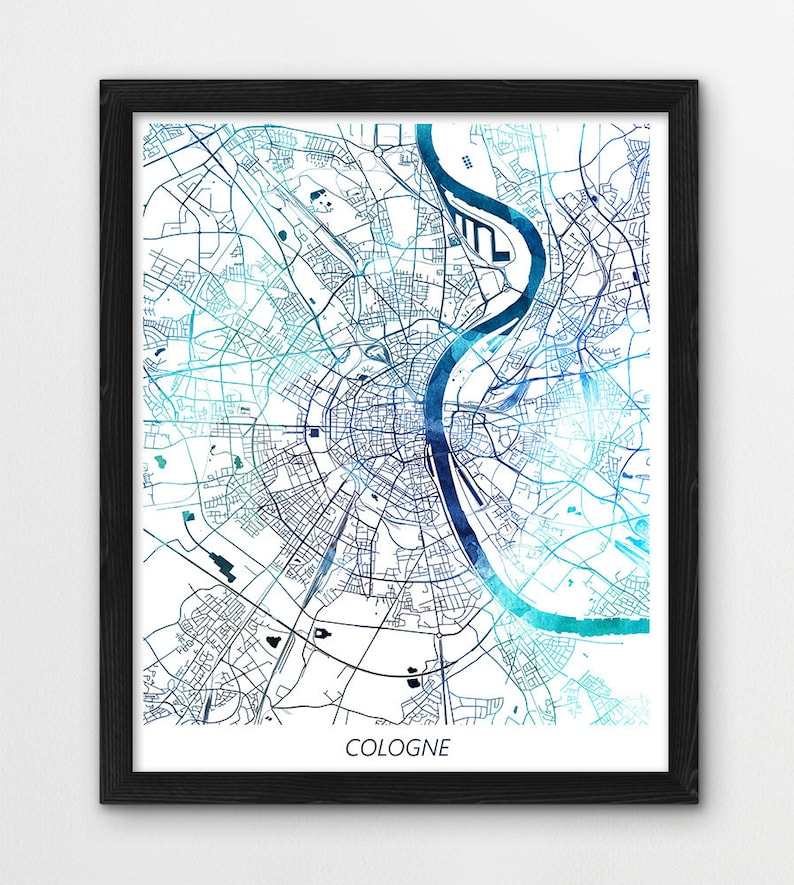 Cologne Map Print, Cologne Poster Print, Cologne Germany Urban Street City  Map, Watercolor Blue, Home Room Office Wall Art, Printable Decor