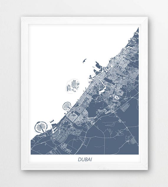 Dubai Map Print, Dubai Poster Print, Dubai City UAE Urban Street Map, Blue  White Colors, Modern Home Room Wall Office Art, Printable Decor