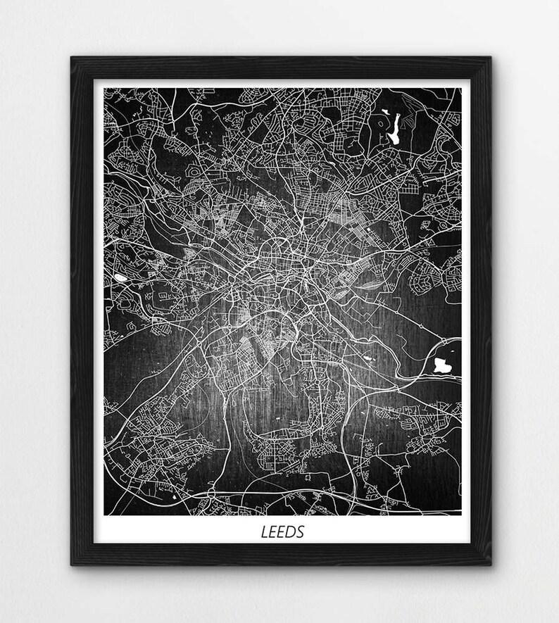 Map Of Uk For Printing.Leeds Map Print Leeds City Poster Print Map Of Leeds Uk Great Britain Street Urban Print Home Room Wall Office Decor Printable Art Gift