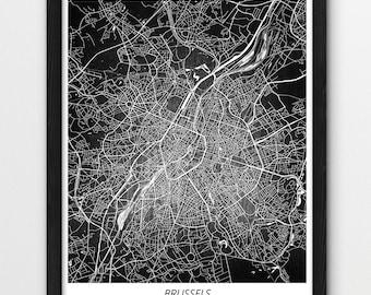 brussels poster print brussels city map print brussels urban street map digital print printable home room wall office decor travel art