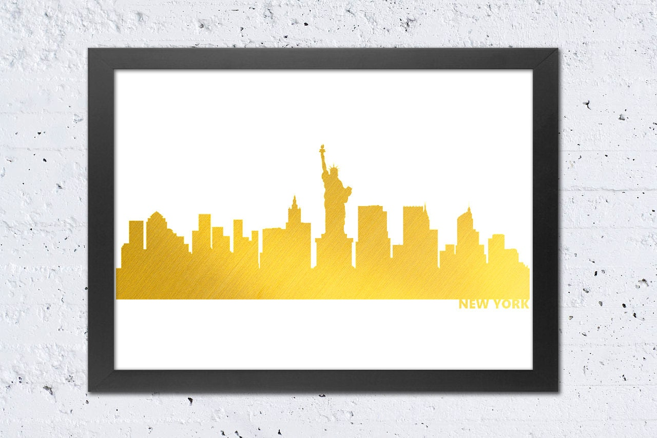 New York Print New York Skyline Gold print New York City Art