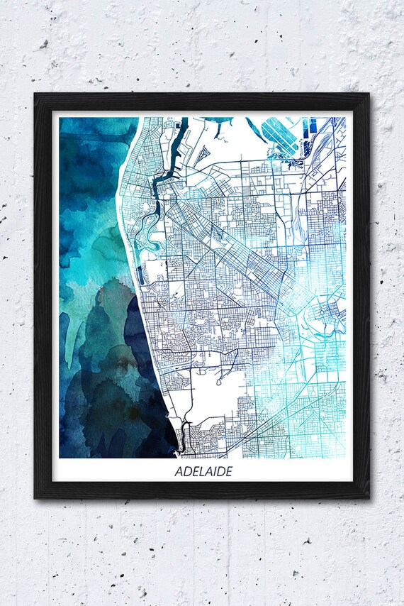 Map Of Adelaide Australia.Adelaide Map Print Adelaide Australia Poster Map Adelaide Urban Street Map Blue Watercolor Print Modern Home Wall Office Art Printable